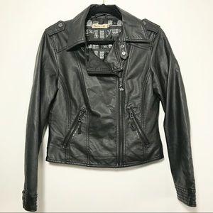 Maria Filo Faux Leather Black Moto Zipper Jacket